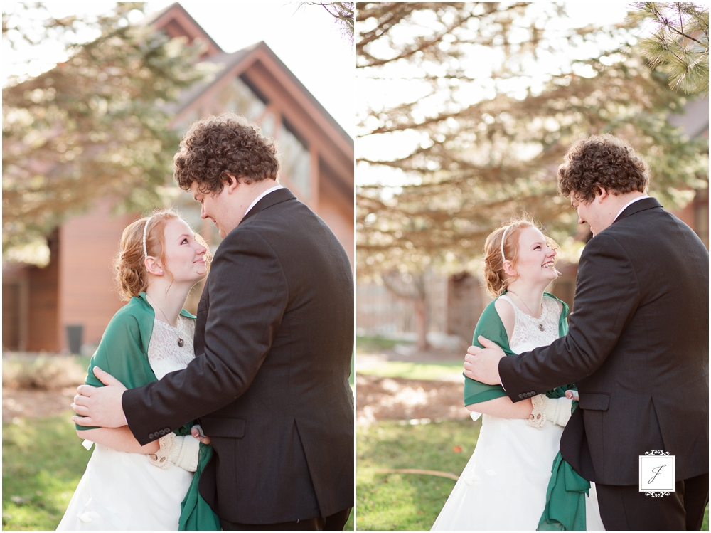 Forest Green Shabby Chic Michigan wedding first look by Jackson Signature Photography Saginaw Michigan Wedding Photographers