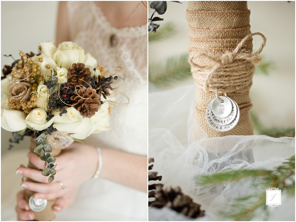 rustic elegant bouquet, Rustic Romantic Forest Green Winter Michigan Wedding by Jackson Signature Photography