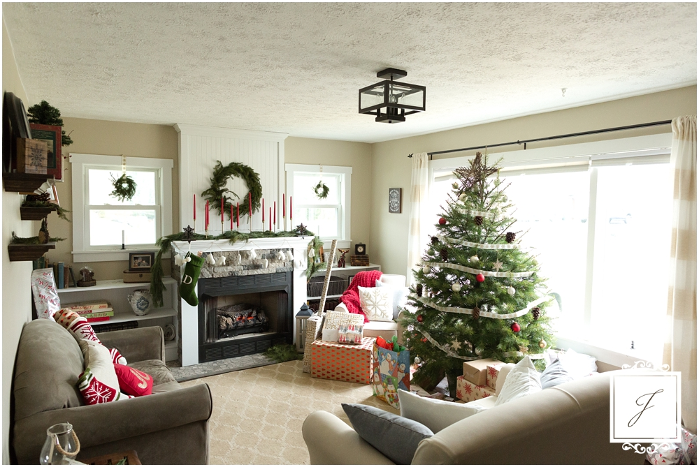 Neutral With a Pop of Red Cottage Christmas Decor by Jackson Signature PHotography